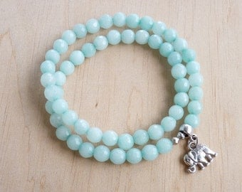 Amazonite Bracelet for women Gift Elephant Bracelet for her Amazonite Jewelry Elephant Charm Bracelet Women Beaded Bracelet Stretch Bracelet