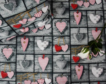 Shabby Chic Patchwork Vintage Style Hearts Cotton  Fabric Design