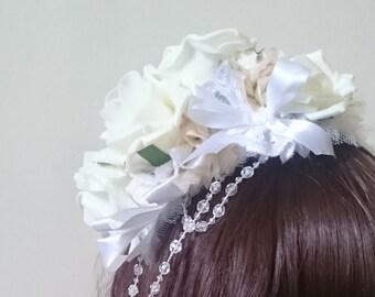 Selene - white rose bridal headband