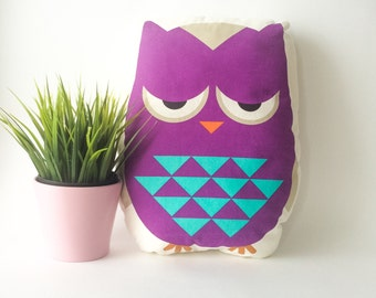 Owl pillow, stuffed owl, owl cushion