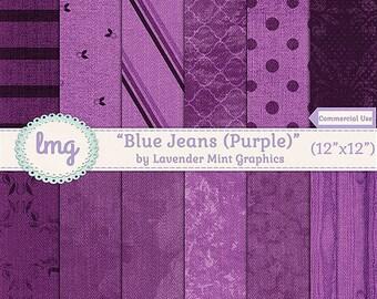 Purple Blue Jean Denim Digital Scrapbooking Paper - Denim Digital Paper Background - Denim Textures - Instant Download, Commercial Use