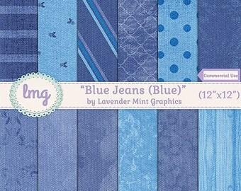 Blue Jean Digital Scrapbooking Paper - Junk Journal, Journaling, Vintage Digital Paper - Denim Textures  - Instant Download, Commercial Use