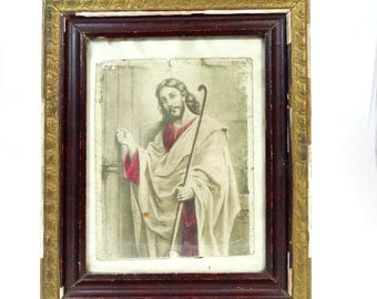 Antique Jesus Picture - Jesus Knocking on the Door - Vintage Jesus Christ Framed Picture  - Old Jesus Christ Picture