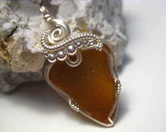 Lake Michigan Glass Wire Wrapped in Sterling Silver Wire & Beads