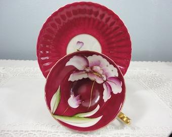 Beautiful Vintage Maroon Floral Designed Lusterware Teacup & Saucer