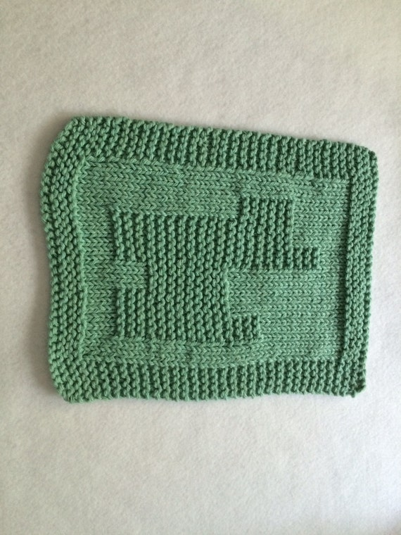 1 Hand Knitted 100% Cotton Dish Cloth / Wash Cloth