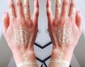 HennaBK Metallic Henna inspired temporary flash tattoos Gold & Silver Mandalas