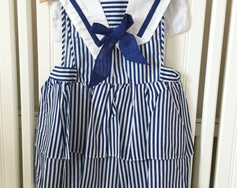 Vintage Sailor Toddler Girls Dress, Fourth of July