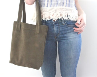 Dark Green Italian Suede Leather Shoppers Tote