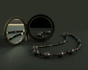 Bali Silver, Czech, Crystals, Hematite, Handmade, Beaded, Necklace - Moroccan Inspiration