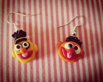 A pair of earrings of Bert and Ernie of Sesame Street made of fimo Earrings Bert and Ernie Sesame Street polimer clay Muppet Show