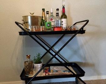 Mid-Century Bar Cart // Tea Cart Folding Atomic Starburst