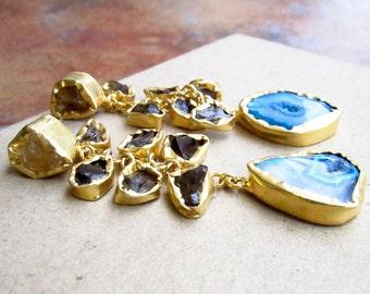 Statement Cluster Earrings with Raw Smoky Quartz and Blue Agate/Gold Earrings/Dangle Earrings/Raw Gemstone Earrings