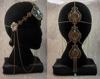 "Hair ornaments / headdress / Headband / Diadème / Tiara / Crown / ""Belle Hélène"" Romantic Victorian Style Antique Egyptian Godess / Bronze"