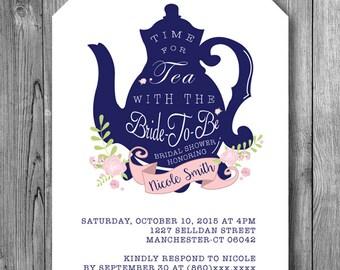 Bridal Shower Tea Invitation Bride To Be Tea Party Invite Navy Blue White Pink Flowers Wedding Shower Tea Pot Elegant Floral (Printable DIY)