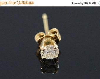 1 Day Sale 14K 0.25 Ct H / I1 Round Diamond Single Stud Earring Yellow Gold