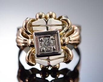 18K 0.25 CT Round Diamond Art Deco Ring - Size 7.75 / Yellow Gold - EM2292