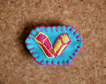 Embroidered Cubes Felt Pin