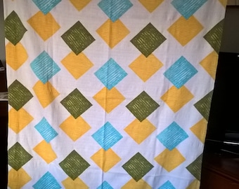 Barkcloth panel. Tablecloth. White/yellow/green/turquoise material. 1950's/60's Fabric hemmed on all sides. Ideal for caravan/crafts