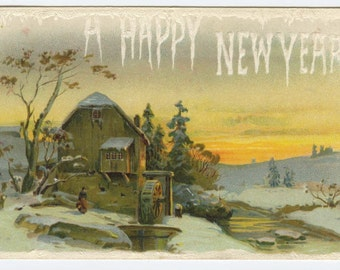 New Year Greetings Rustic Old Mill Along River c1910 Embossed Postcard