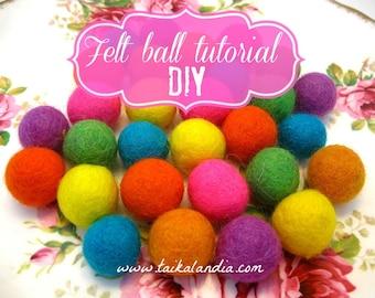 How to make felt ball- PDF TUTORIAL- Felt ball DIY- Use wool or unspun yarn