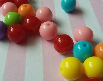 8mm acrylic beads, mixed color, Round, Pack of 100