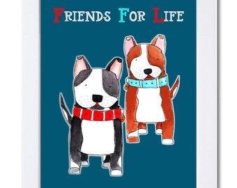 Friends for Life-Two Staffordshire Dogs-Watercolor Illustration