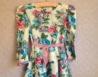 Blue and Pink Floral Tiered Peplum Top.  Petite Peplum Blouse.