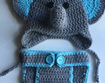 Boy or girl Baby/ Newborn Elephant Hat and Diaper Cover Photo Prop