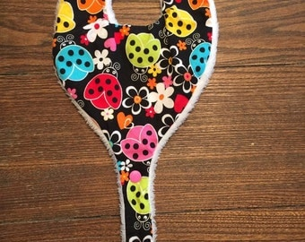 Lovely Ladybugs Pacifier Bib - Teether Bib - Binky Bib Handmade for Infants and Toddlers