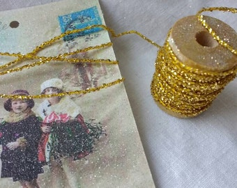 5 yds Gold Tinsel Glitter Twine, Christmas Crafts, Gifts, Wrapping, Ornaments, Brilliant Gold Sparkling,  Glitter, String Ribbon
