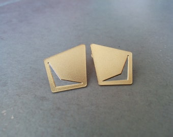 Gold Stud Earrings, Gold Earrings, Stud Earrings, Gold Post Earrings, Ear Studs, Geometric earrings, gold studs, Gift, Geometric Studs
