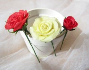 Bridal hair flower roses - set of 3, Wedding hair flower, Bridal flower pins, Wedding flower pins, rose hair pin, Clay flower, Bridal rose