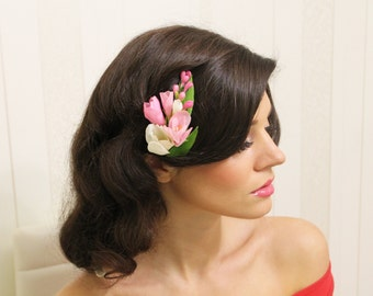 Pink freesia blossom comb - bridal flower comb -  clay blossom comb - wedding flower comb. flower comb. bridal comb. flower hair accessory