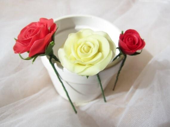 Set Of 3 Wedding Hair Flower Bridal Flower Pins Wedding Flower