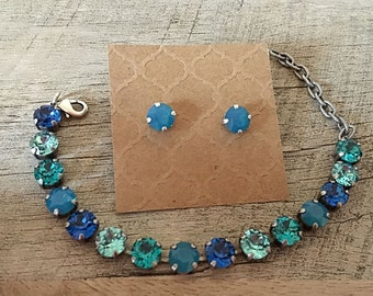 Swarovski Ocean Blues Set - 8mm Crystal Stud Earrings & Bracelet