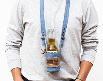 OverAle (Hands-Free Drink Strap) by Hide & Drink - 100% Handmade Leather - Denim