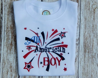 Boy's summer shirt;  Boy's July 4th Shirt; Red White Blue shirt; Patriotic shirt;