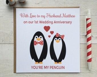 Personalised Penguin Wedding Anniversary Card Husband, Wife, Girlfriend, Boyfriend, Partner (LB020)