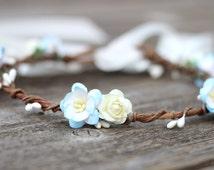 Aqua Flower Girl Crown, Flower Wreath, Toddler Flower Crown, Girls Flower Crown, Blue and White Rose Crown, Ivory Floral Hair Wreath Wedding