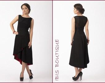 New little black dress, elegant black dress, tango dress, Spanish style dress, lace back red skirt, modern formal little black dress