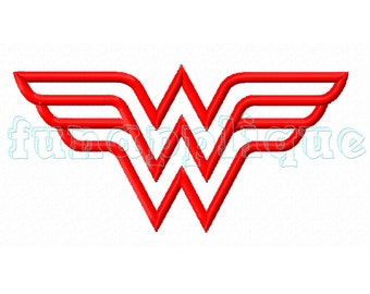 wonder woman Applique design for Machine Embroidery instant download 3 sizes