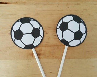 Soccer cupcake toppers - set of 12 soccer theme party, cake toppers, centerpiece