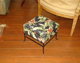 Vintage Foot Stool with Storage Upholstered in  Wonderful Monkey Print, Black Metal Finish