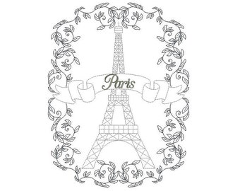 Eiffel Tower and vegetal frame machine embroidery design