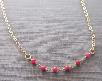Dainty Ruby Chain Necklace / Small Minimal Genuine Ruby Necklace /Layering Ruby Necklace / Red Ruby Gold / Small Red Stone Necklace / GS1