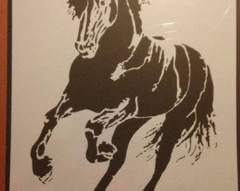 Running Frisian Horse reusable painting stencil Equestrian design