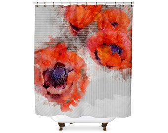 Watercolor poppy flower and stripes shower curtain