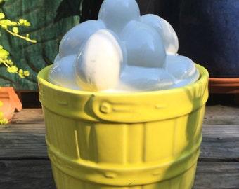 McCoy Cookie Jar / Vintage McCoy Egg Basket Cookie Jar / Yellow McCoy / Rare McCoy