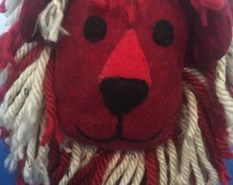 Handmade Red and White Yo-Yo Lion